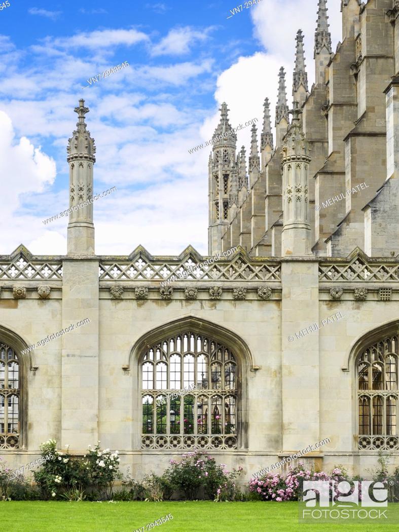 Stock Photo: Stone arch windows of King's College Cambridge on King's Parage, Cambridge, England, UK.