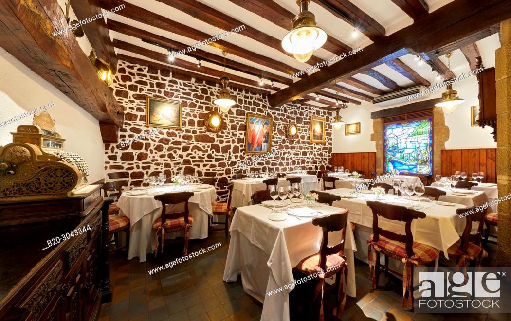 Stock Photo: Dining room, Tables to eat, Restaurante Juanito Kojua, Parte Vieja, Old Town, Donostia, San Sebastian, Gipuzkoa, Basque Country, Spain.