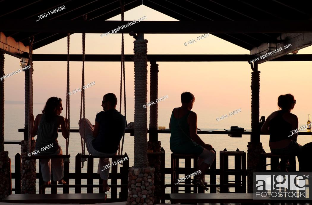 Stock Photo: Bar, Sunset Beach, Peroulades, Corfu, Greece.