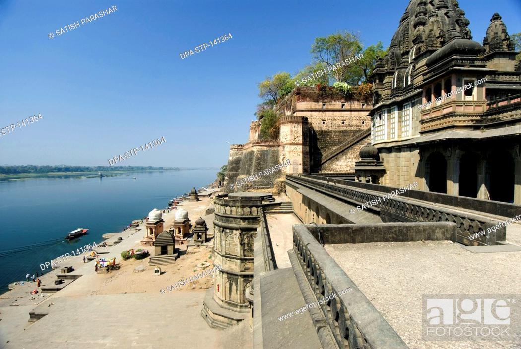 Stock Photo: Chhatris and temples palace and ghats at bank of river Narmada ; Maheshwar state ; Madhya Pradesh ; India.