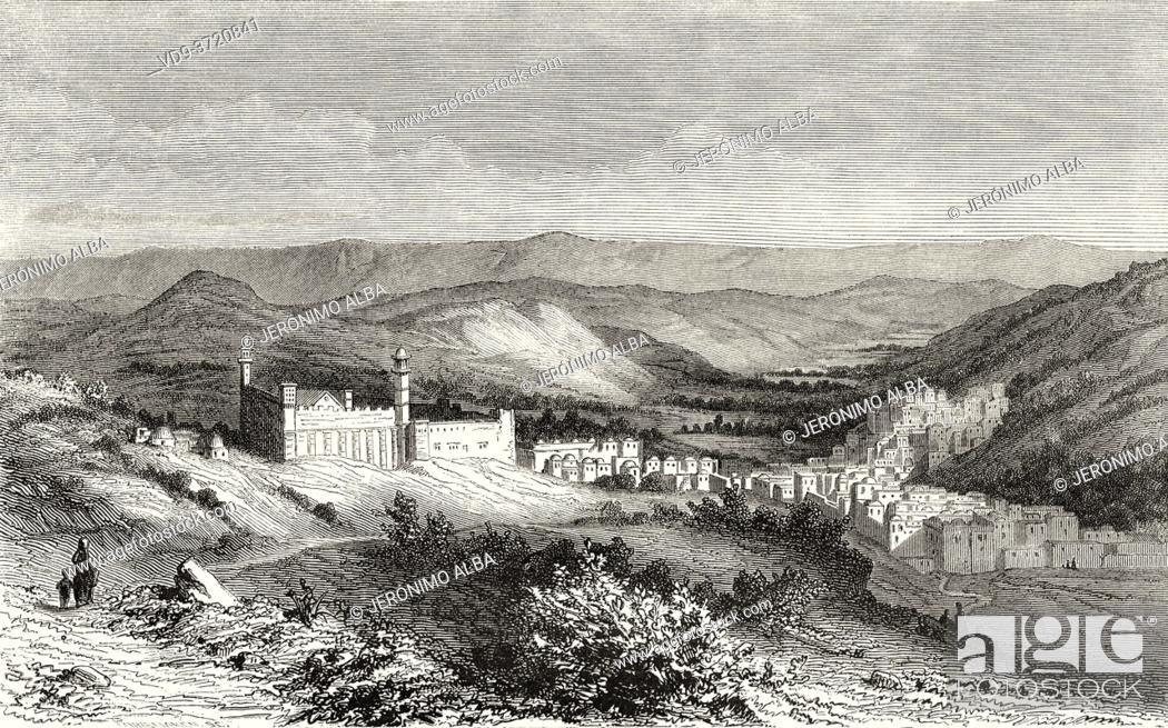 Stock Photo: View of the mosque of Hebron, Palestine, Israel. Old 19th century engraved illustration Travel to Jerusalem by Alphonse de Lamartine from El Mundo en La Mano.