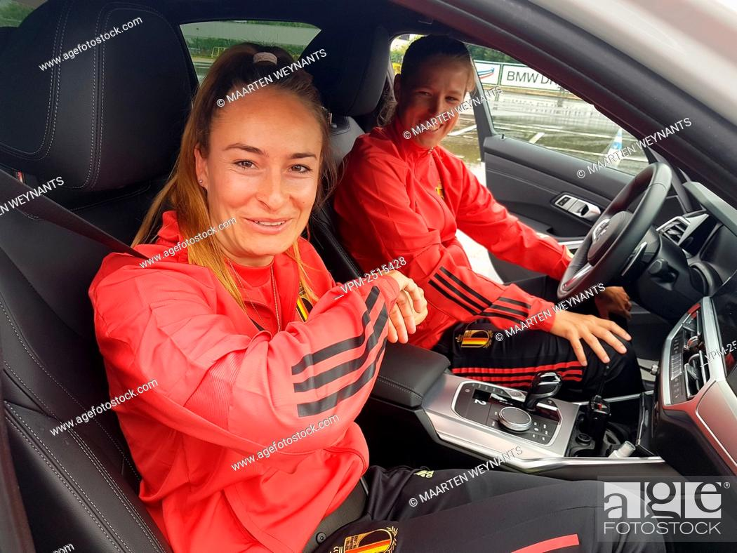 Stock Photo: Tessa Wullaert of Belgian national soccer team the Red Flames pictured at a skid control driving exercise in Rotselaar, Friday 03 July 2020..
