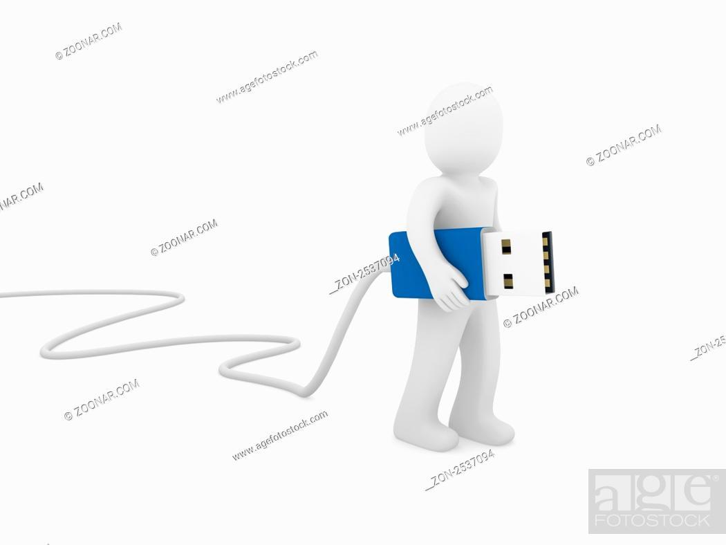 Imagen: 3d human man usb stick blue plug cable.