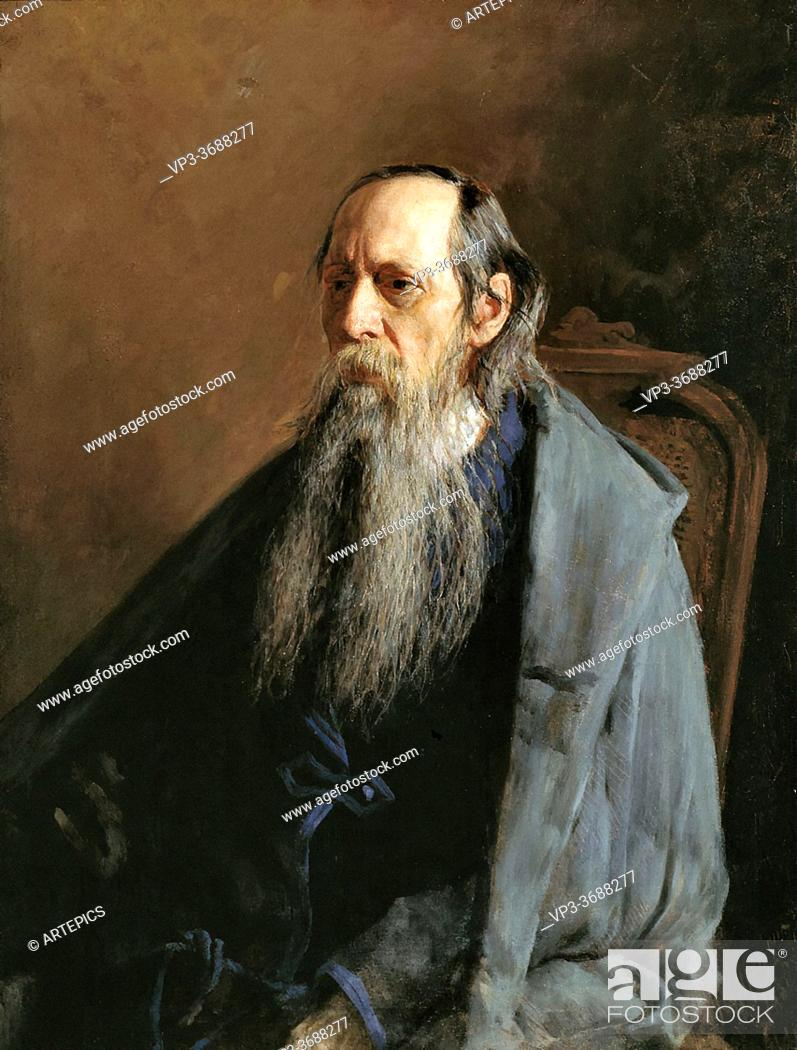 Stock Photo: Yaroshenko Nikolai - Portrait of Mikhail Saltykov-Shchedrin - Russian School - 19th and Early 20th Century.