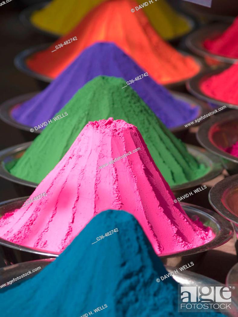 Stock Photo: Colored powder (for Hindu ritual use) for sale in a market in Mysore, Karnataka, India.