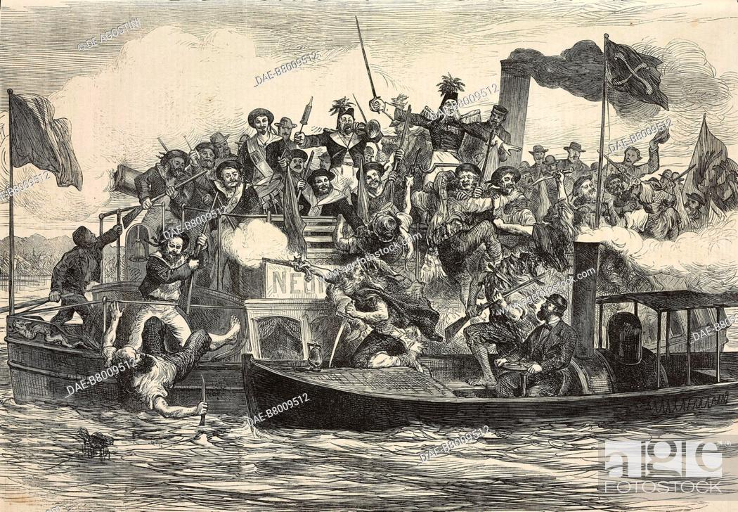 Stock Photo: Sham pirates attack, masquerade festival of Berlin artists, Germany, engraving from The Illustrated London News, No 1875, July 17, 1875.