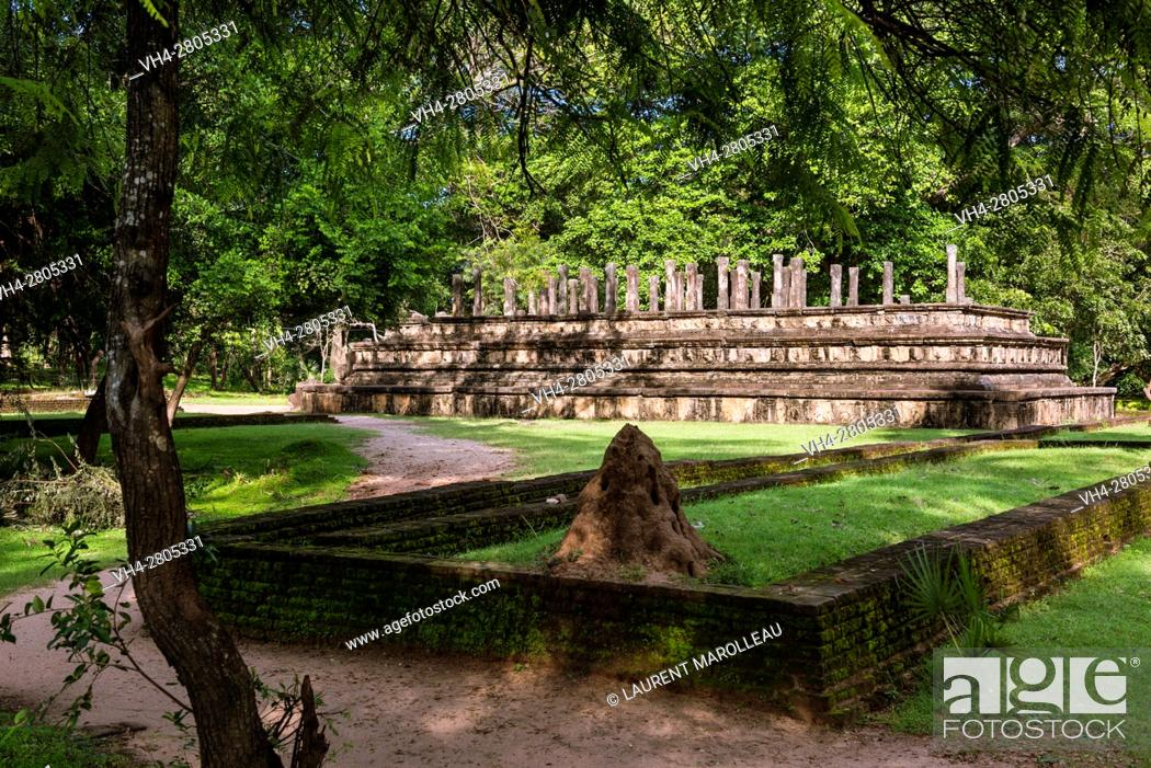Stock Photo: Vijayabahu Palace Ruins and the Council Chamber in the background. Ancient City of Polonnaruwa, North Central Province, Sri Lanka, Asia.