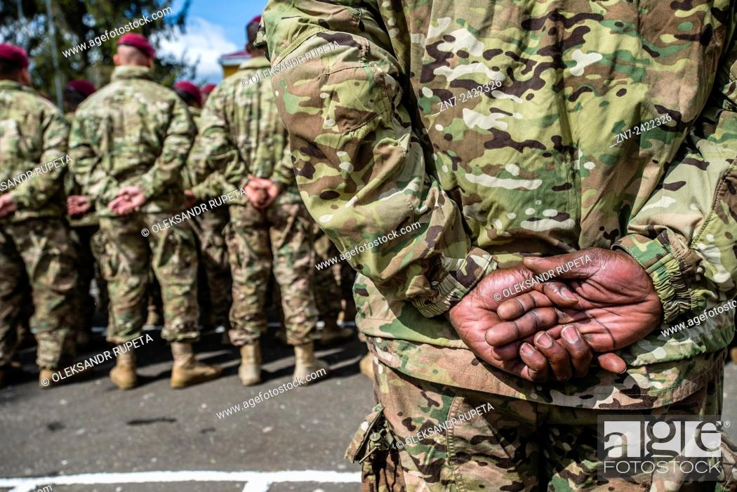 Stock Photo: US soldiers during opening ceremony Ukrainian-US Exercise Fearless Guardian at International peacekeeping and security centre, Yavoriv, Lviv region, Ukraine.