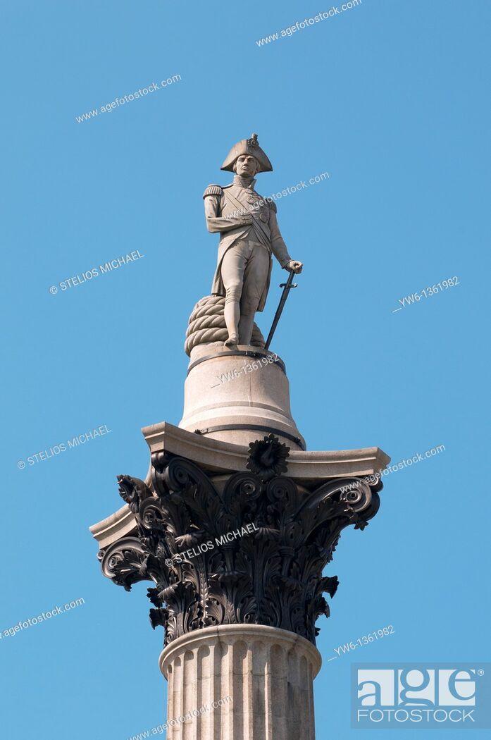 Stock Photo: Nelson statue at Trafalgar Square in London,England.