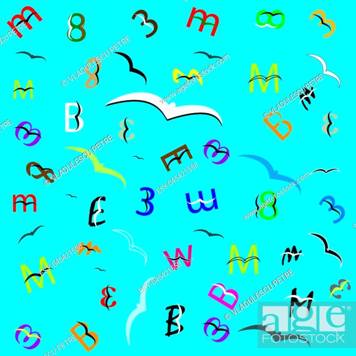 Stock Vector: letters and numbers which fly like birds.