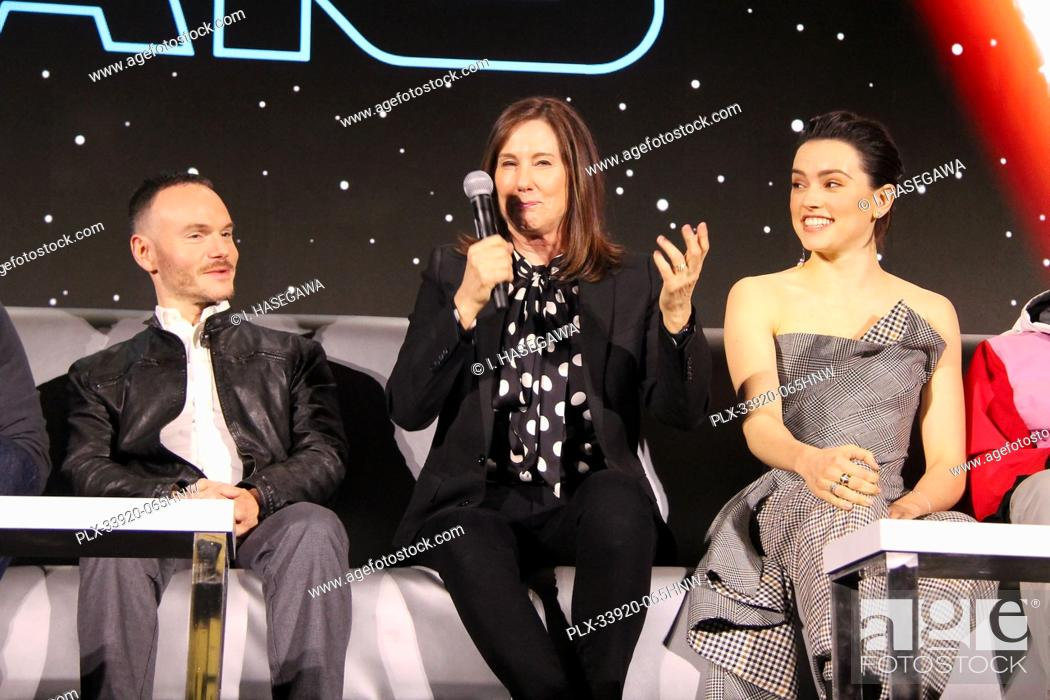 """Stock Photo: Chris Terrio, Kathleen Kennedy 12/04/2019 """"""""Star Wars: The Rise of the Skywalker"""""""" Press Conference held in Pasadena, CA. Photo by I."""