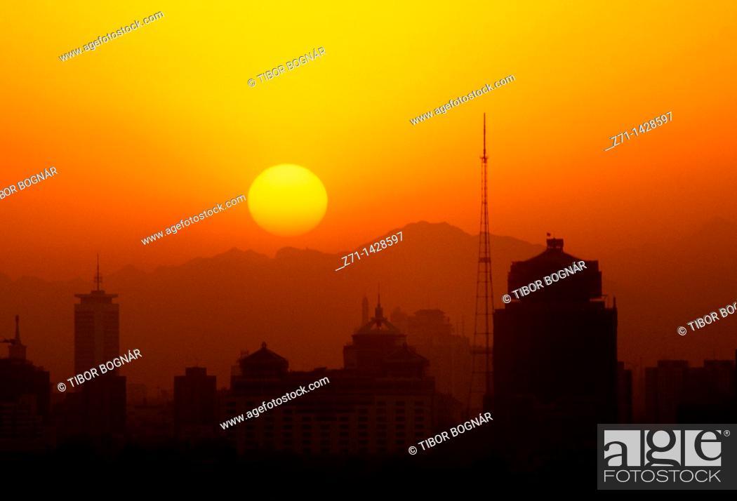 Stock Photo: China, Beijing, skyline, sunset.