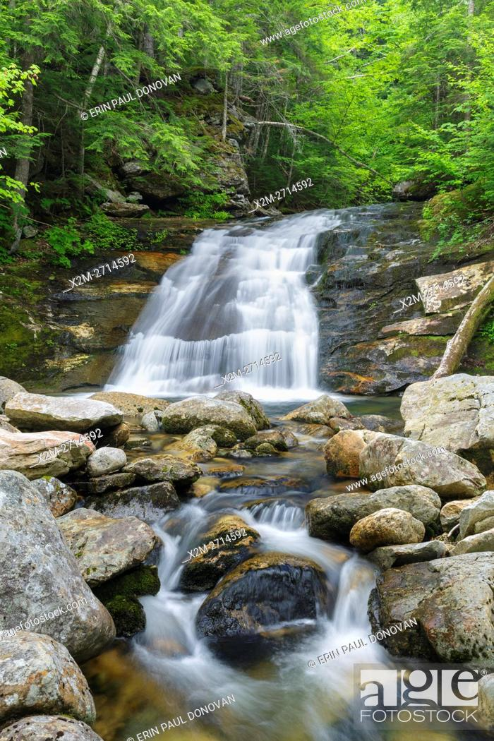 Stock Photo: Cascade along Cold Brook in Randolph, New Hampshire during the summer months.