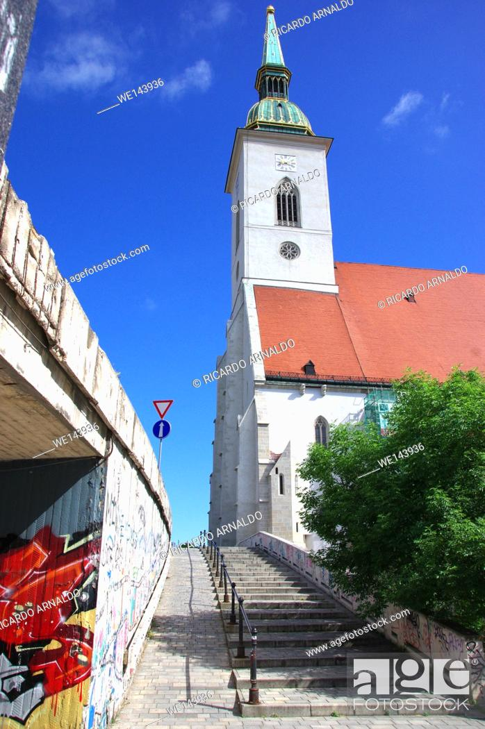 Stock Photo: Alley to St. Martin's Cathedral, Bratislava.