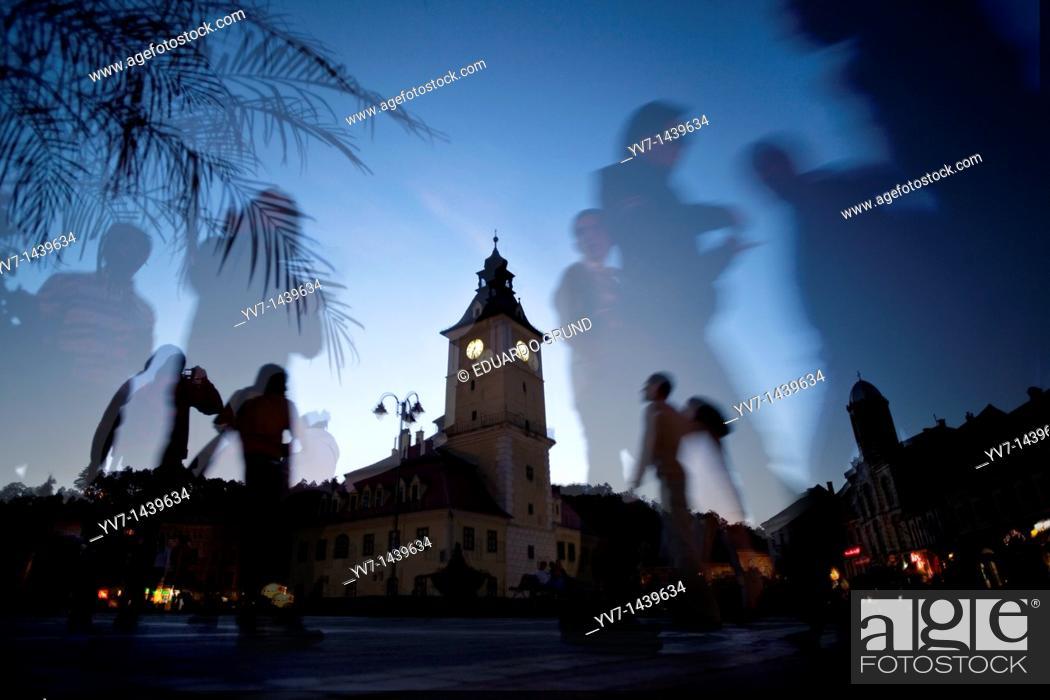 Stock Photo: Town Hall Square of Brasov  Brasov, Transylvania, Romania, Europe.