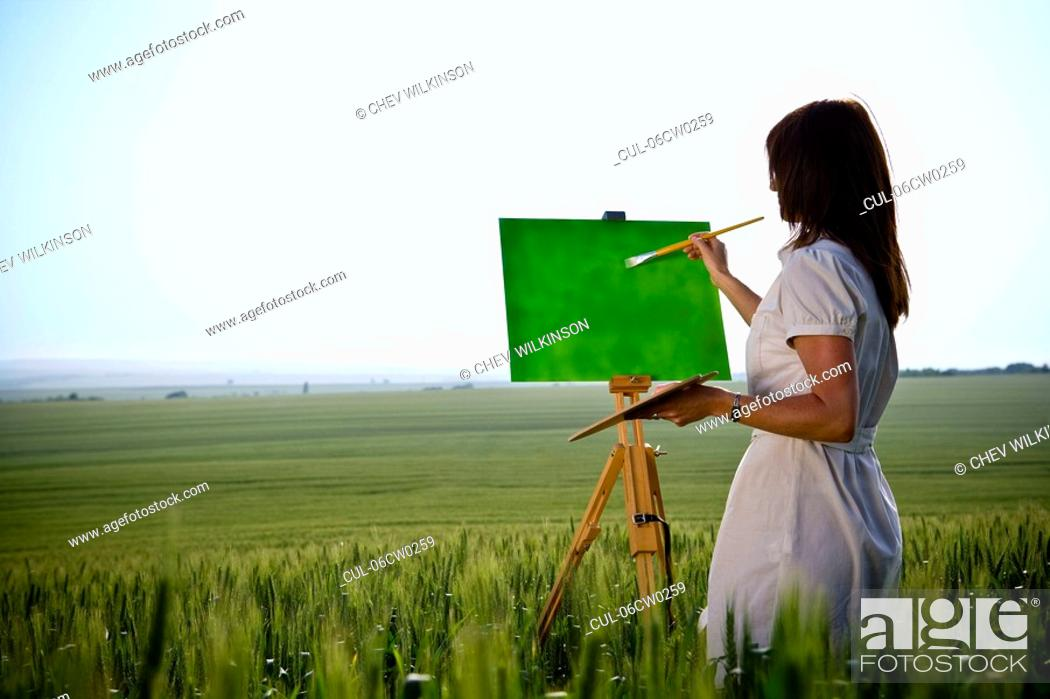 Stock Photo: Woman painting in wheat-field, rear.