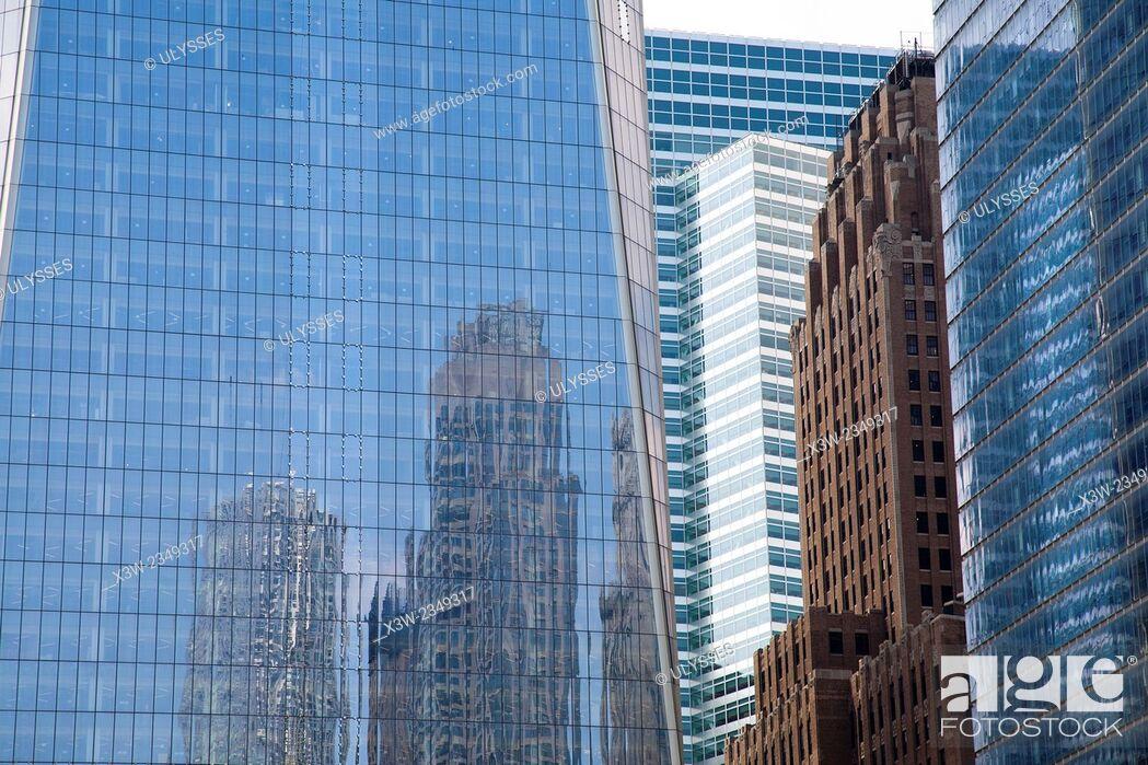 Stock Photo: skyscrapers, Broadway and Liberty street, financial district, Manhattan, New York, USA, America.