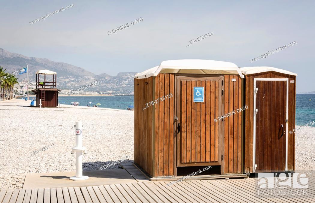 Stock Photo: View of a hut in Albir beach, Alicante north, Spain.