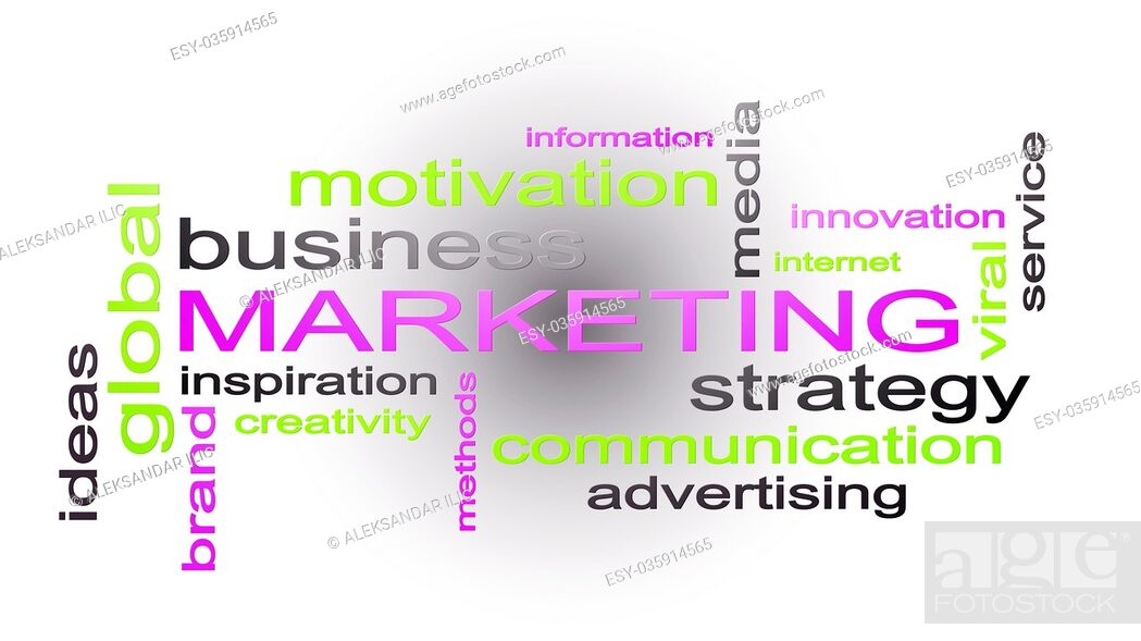 Stock Photo: Marketing Business Strategy Word Cloud Text Concept 3D Rendering.