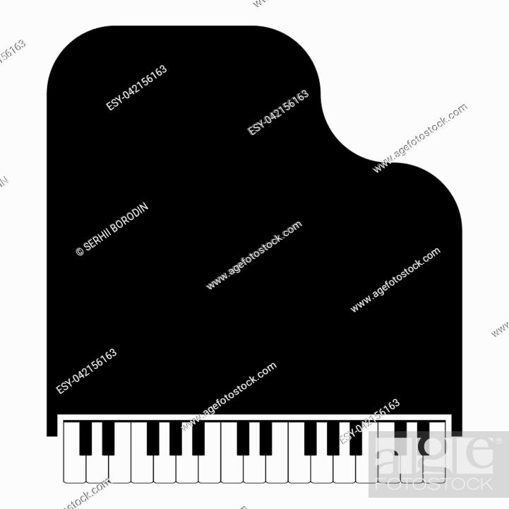 Stock Vector: Grand piano icon black color vector illustration flat style simple image.