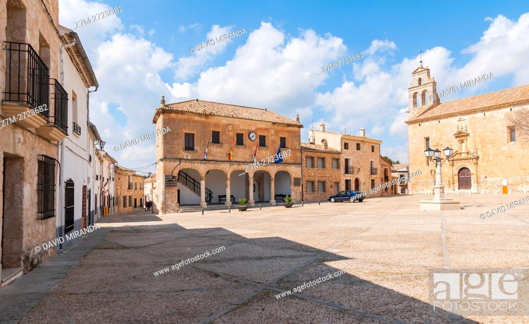 Stock Photo: Ayuntamiento e Iglesia de San Juan Bautista, City Hall and San Juan Bautista Church, Alarcón, Cuenca province, Castile la Mancha, Spain.