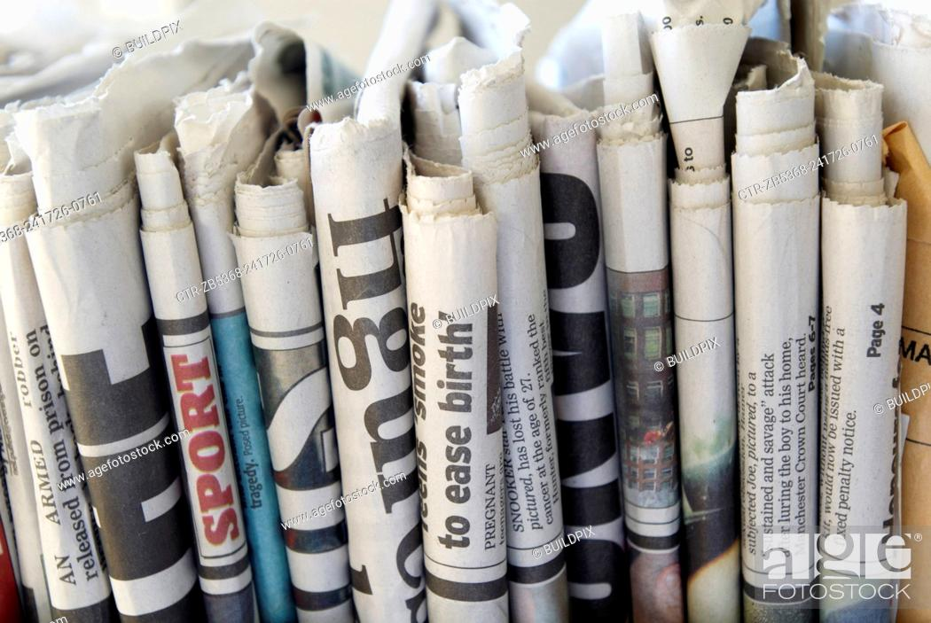 Stock Photo: Newspapers ready for recycling.