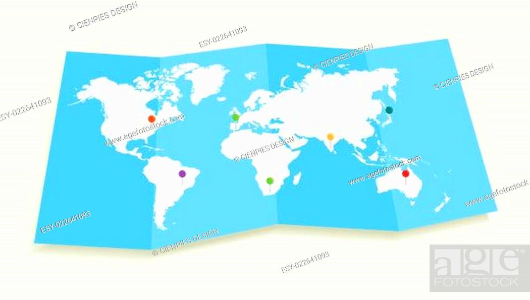 Imagen: World map with GPS location pushpins EPS10 file.