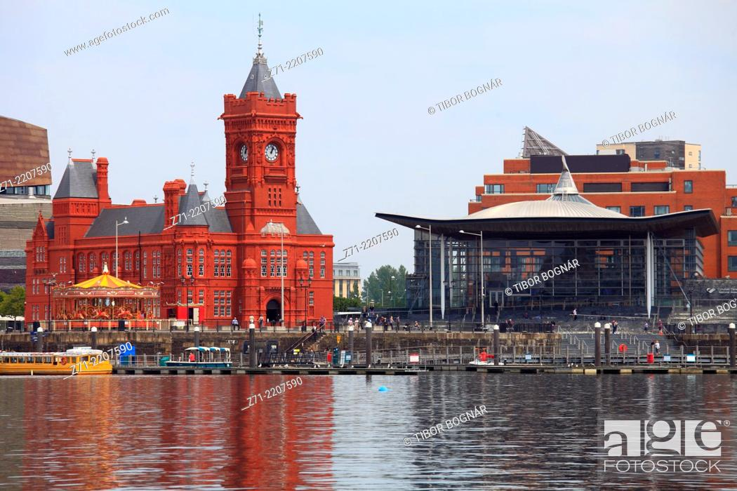 Stock Photo: UK, Wales, Cardiff, Bay, Pierhead Building, National Assembly for Wales,.