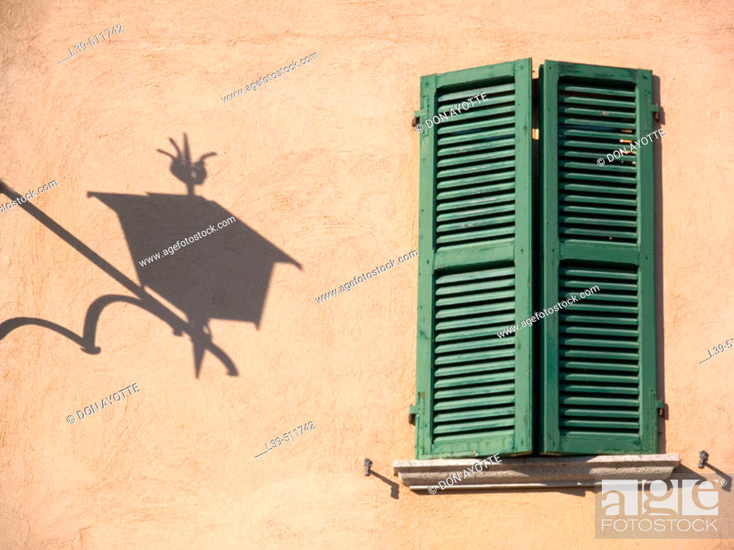 Stock Photo: Set of shutters on a building in Cortona. Tuscany, Italy.