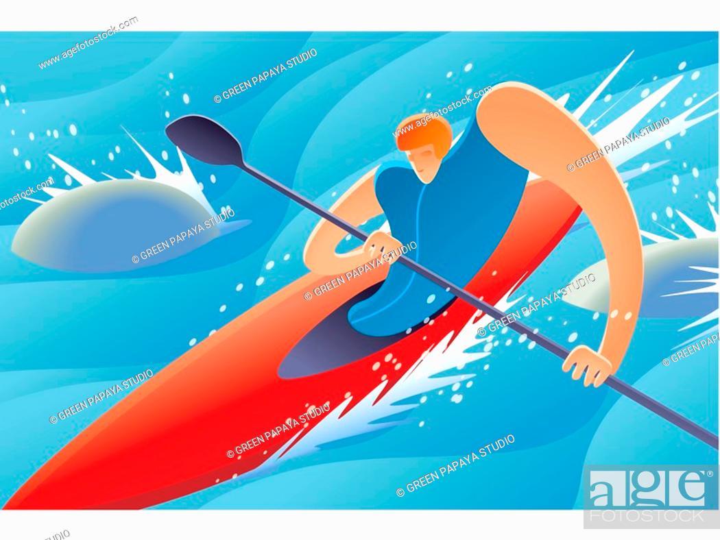 Stock Photo: Kayaking.
