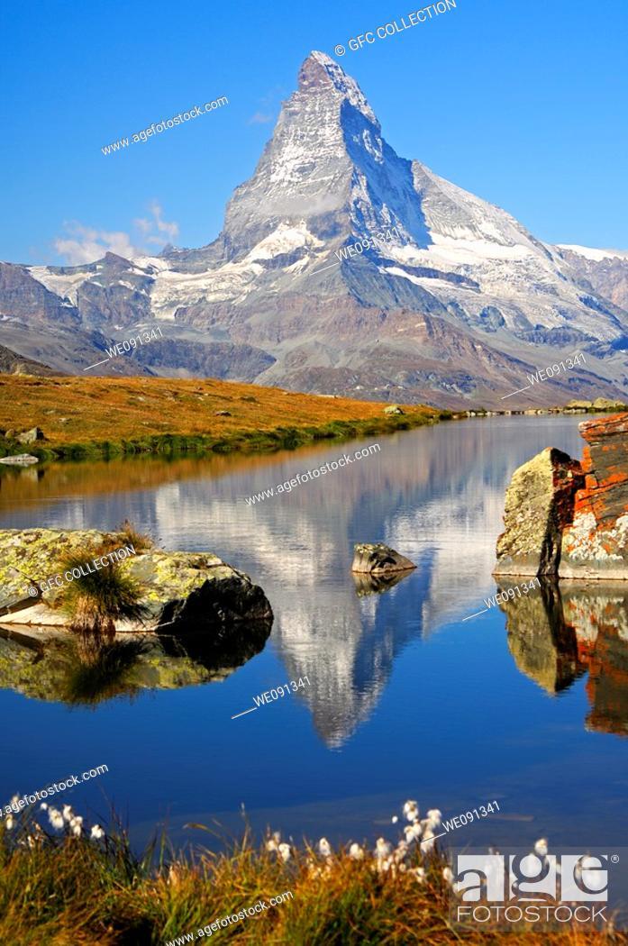 Stock Photo: At lake Stellisee near Zermatt, Mt Matterhorn in the background, Zermatt, Valais Switzerland.