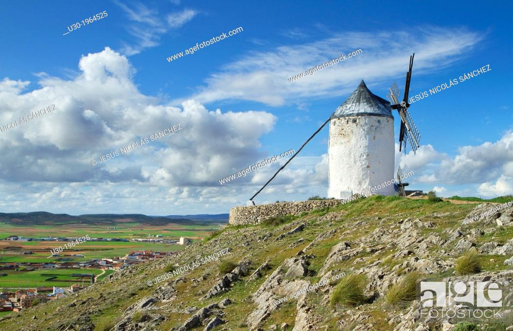 Stock Photo: Typical windmill in Consuegra village, in the Route of Don Qiuijote, Toledo province, Castilla-La Mancha, Spain.