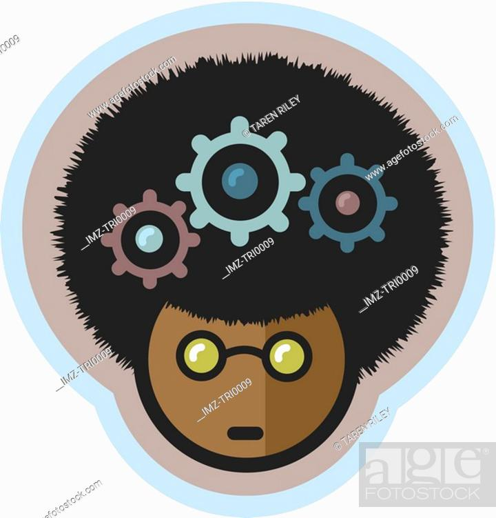 Stock Photo: A man with gears in his head.