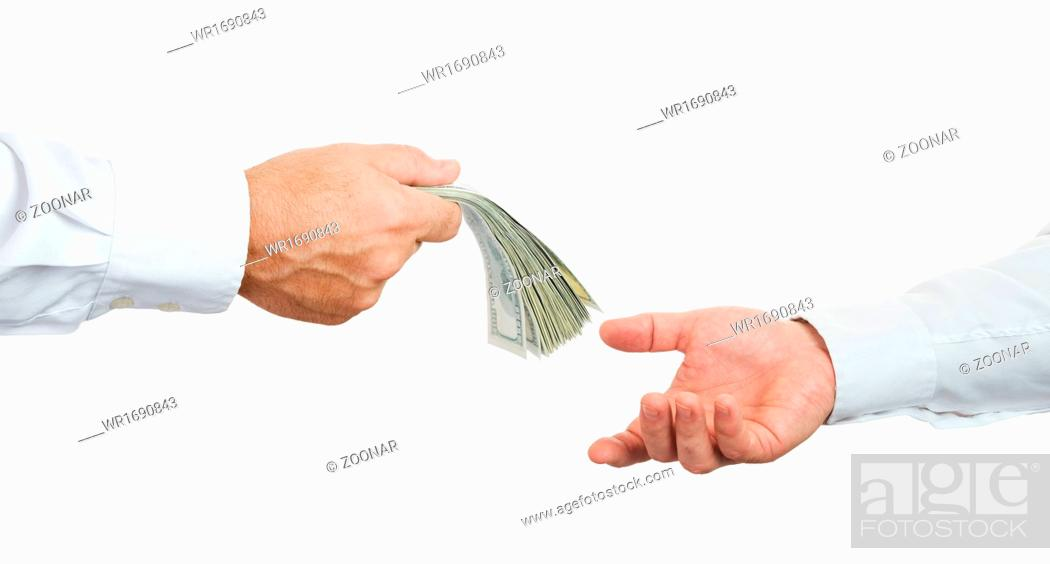 Stock Photo: Hands and money.