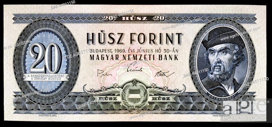 20 fiorint banknote, 1969, obverse, Gyorgy Dozsa (1470-1514