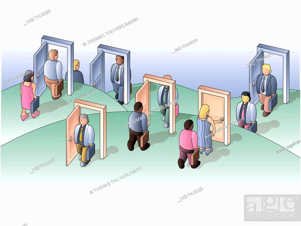 Stock Photo: Business people opening and walking through doors of opportunity.