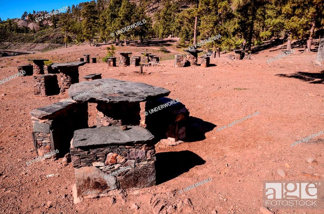 Stock Photo: Picnic Recreational Area in Gran Canaria Canary Islands.