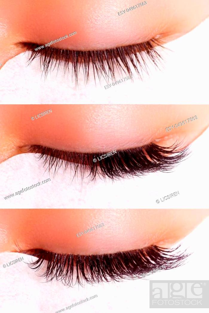 Imagen: Comparison of female eyes before and after eyelash extension.