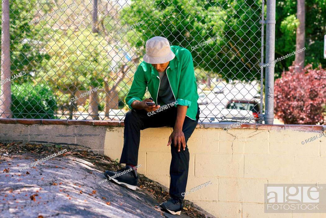 Stock Photo: Young man looking at smartphone by park fence, Los Angeles, California, USA.