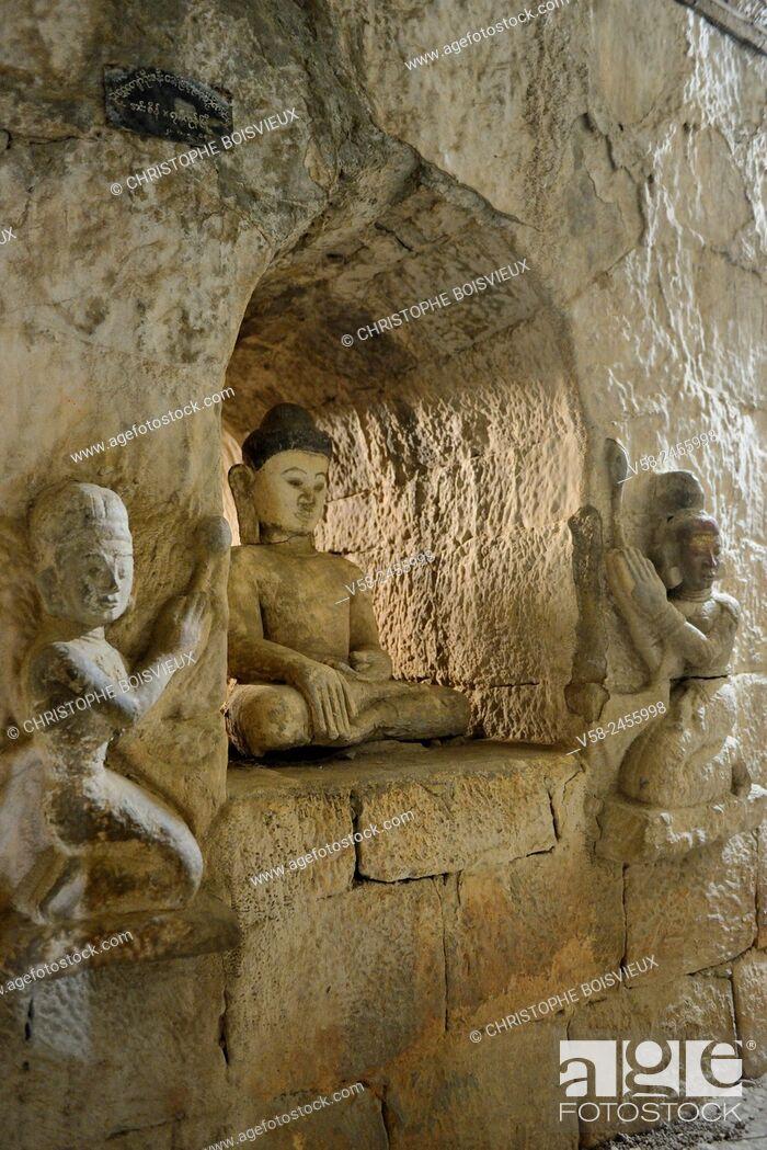 Imagen: Myanmar, Rakhine State, Mrauk U, Dukkanthein pagoda (16th C), Buddha surrounded by lotus flowers bearers.