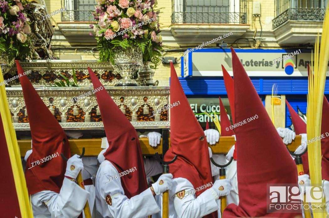 Stock Photo: Cuenca, Spain.14 th April, 2019. Parade procession Palm Sunday Hosanna on 14 th April 2019.
