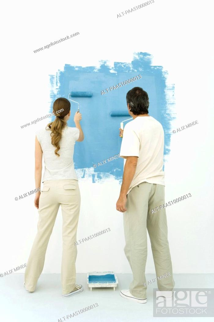 Stock Photo: Couple painting wall blue using rollers, rear view.