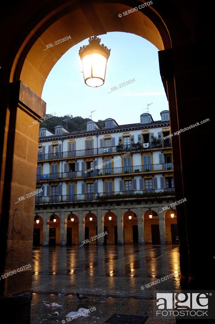 Stock Photo: Plaza de la Constitucion, San Sebastian, Basque Country, Spain.