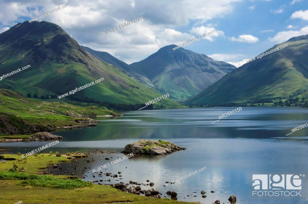 Stock Photo: Great Gable, and Yewbarrow, Lake Wastwater, Wasdale, Lake District National Park, Cumbria, England, United Kingdom, Europe.