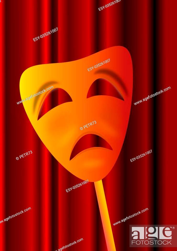 Photo de stock: The sad theatrical mask the burgundy curtain.