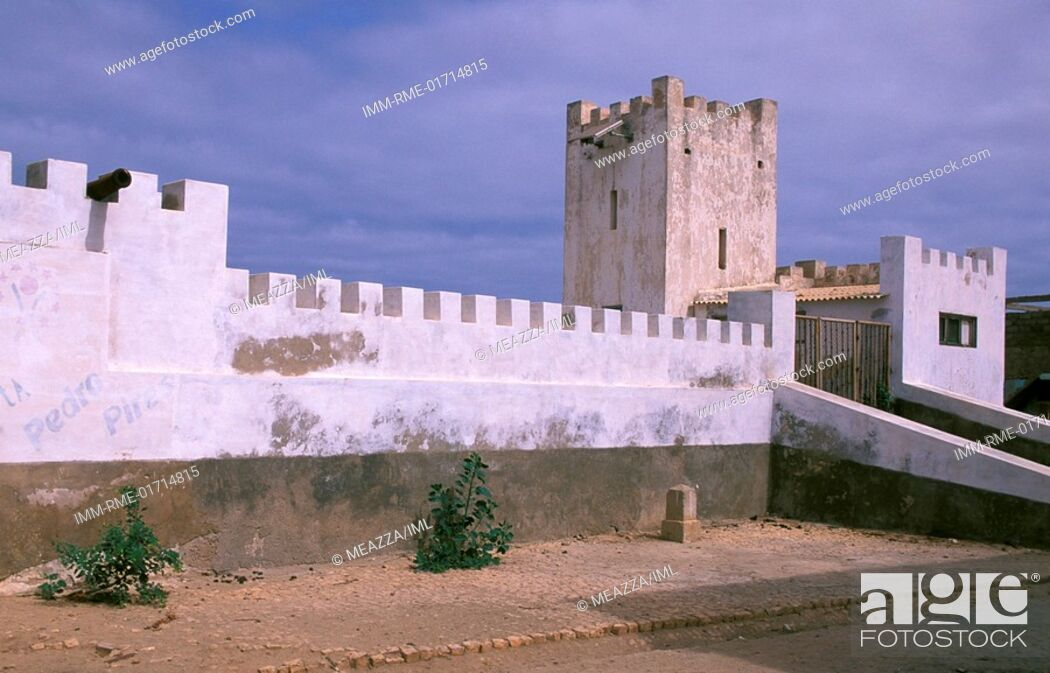 Stock Photo: Vila do Maio, Portuguese Fortress, Maio Island, Cape Verde, Africa.