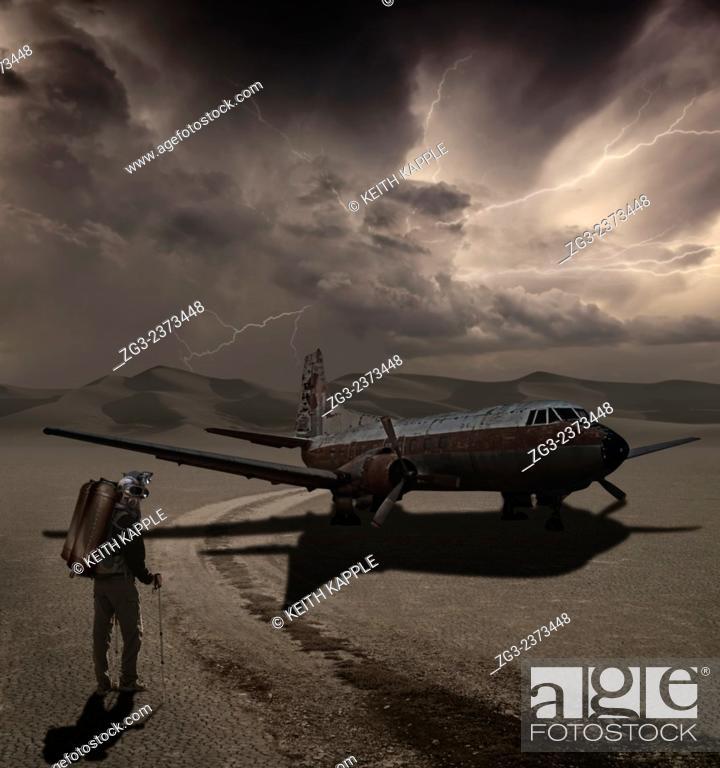 Stock Photo: Man walking into a new adventure, A photo Surrealism illustration.