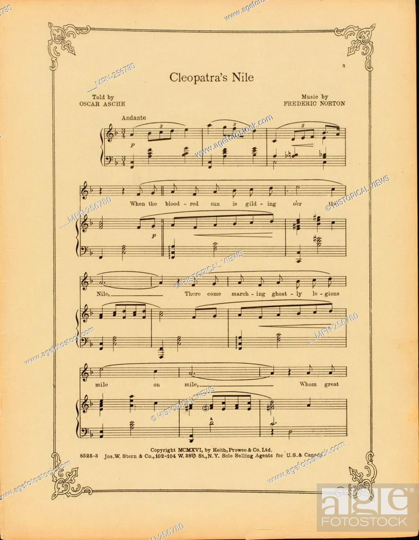 Stock Photo: Cleopatra's Nile Additional title: Chu chin chow. Cleopatra's Nile. Vocal score. Asche, Oscar (1871-1936) (Lyricist) Norton, Frederic (1869-1946) (Composer).