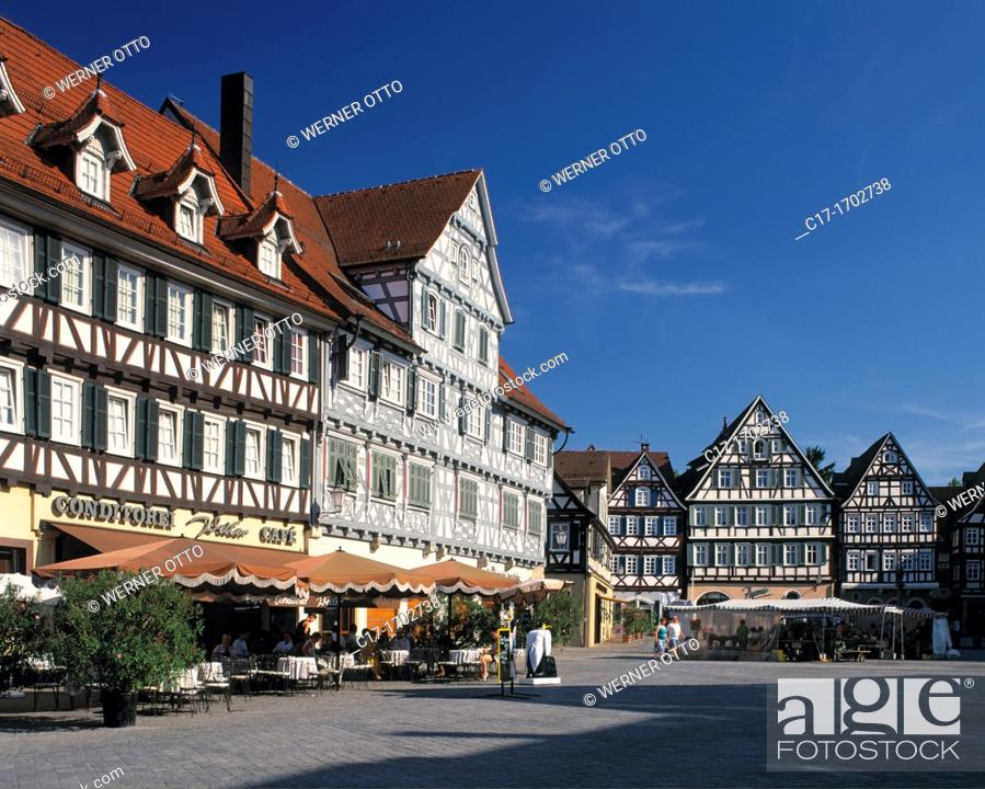 Stock Photo: Germany, Schorndorf, Rems, Rems Valley, Schurwald, Welheim Forest, nature reserve Swabian Franconian Forest, Baden-Wuerttemberg, market place, Palm Pharmacy.