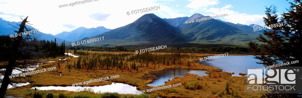 Stock Photo: cloud, lake, sky, panorama, swamp, river.